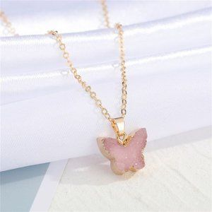 3/$20 New Gold & Pink Druzy Butterfly Necklace